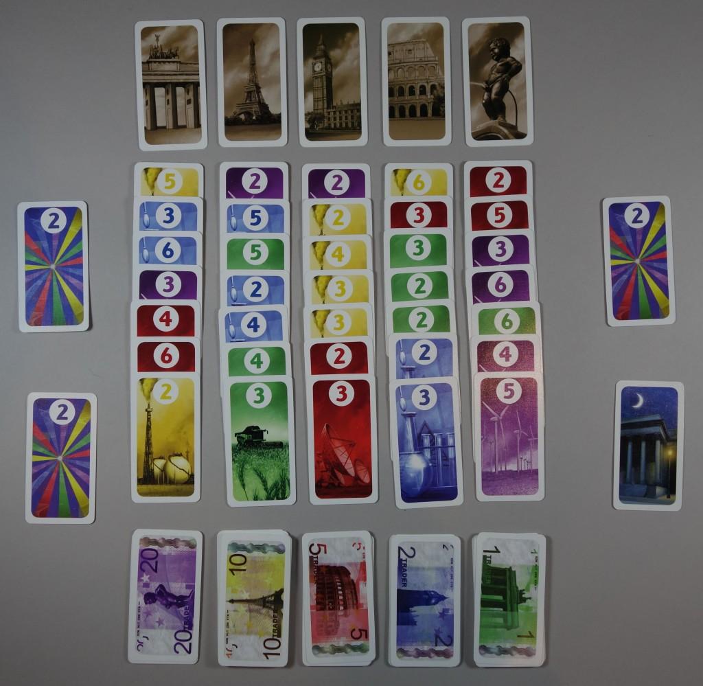 trader jeu début de partie cartes